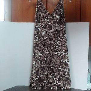 Talbots Beaded Strap Dress with Hibiscus Flowers
